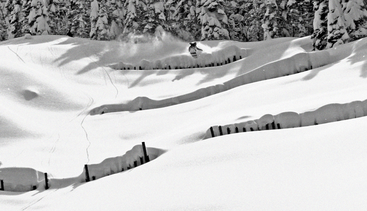Corey on a pwder jump | photo: Springbreak Snowboards