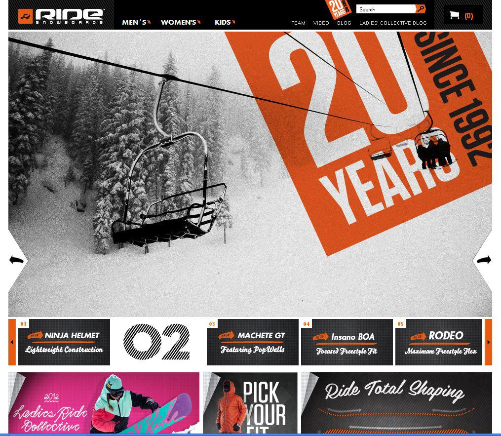 RIDE Snowboards - new website